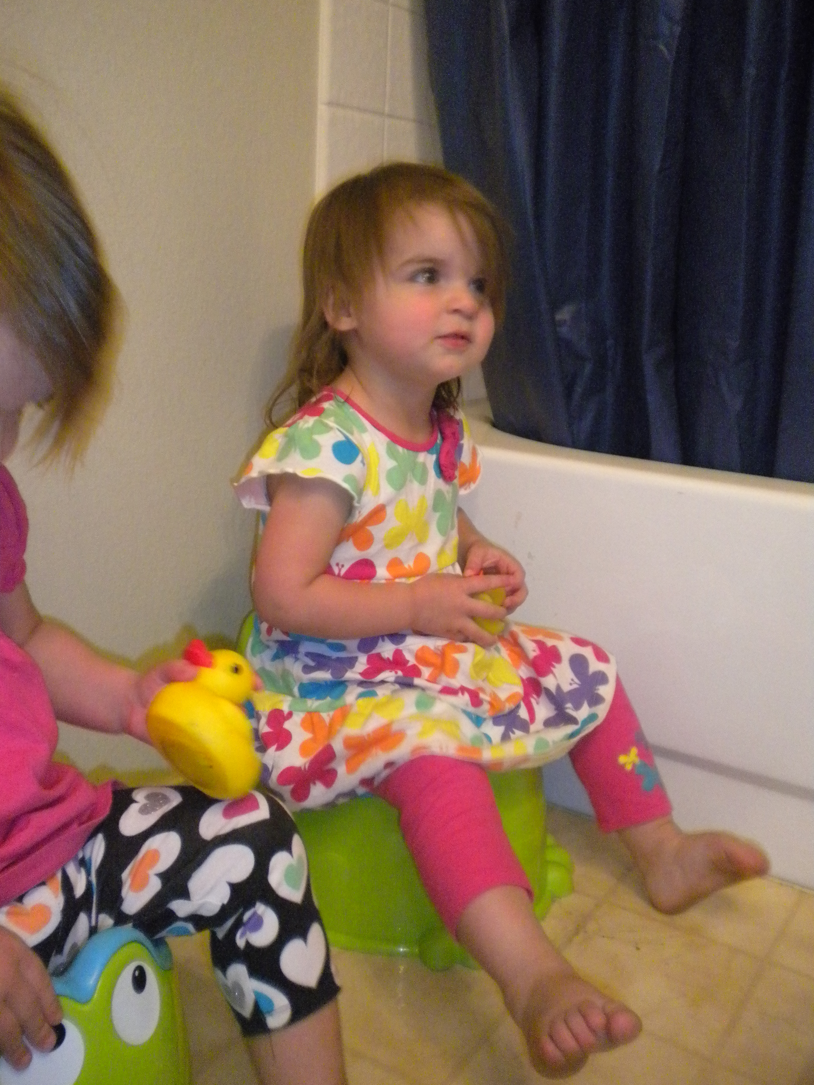 Little girl being potty trained